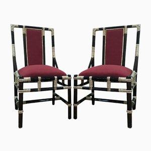 Stühle aus Rattan & Alkantara, 1980er, 2er Set