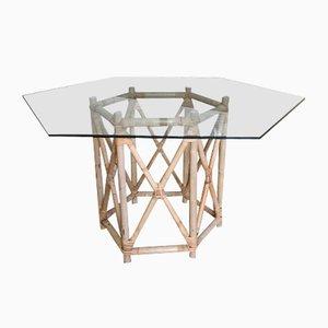 Table Hexagonale en Verre et en Forme de Manao, 1980s