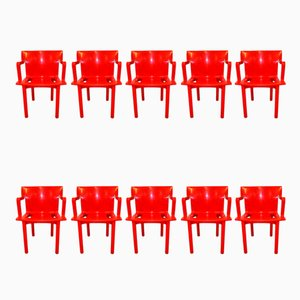 Italian Model 4870 Stackable Chairs by Anna Castelli Ferrieri for Kartell, 1980s, Set of 10