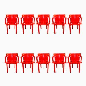 Sedie impilabili nr. 4870 di Anna Castelli Ferrieri per Kartell, anni '80, set di 10