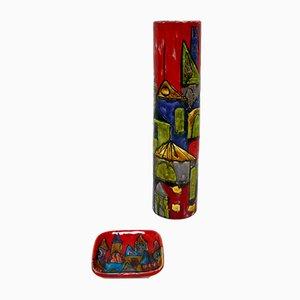 Italian Lacquered Ceramic Vase & Saucer by Elio Schiavon, 1950s