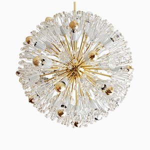 Large Brass & Glass Sputnik Chandeliers by Emil Stejnar, 1950s