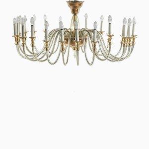 Lámpara de araña grande de cristal de Murano ámbar, años 50