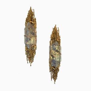 Wandleuchten aus vergoldeter Bronze & Muranoglas von Claude Victor Boeltz, 1970er, 2er Set