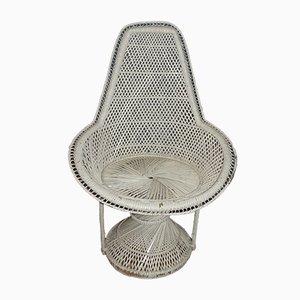 Weißer Vintage Sessel aus Rattan, 1970er
