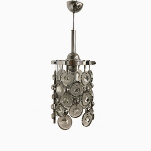 Mid-Century Chrome and Glass Chandelier by Oscar Torlasco, 1970s
