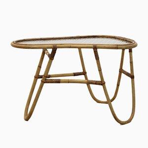 Niederländischer Tisch mit Gestell aus Korbgeflecht & Glasplatte von Rohé Noordwolde, 1960er