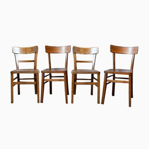 Mid-Century French Brown Wood Dining Chairs, 1960s, Set of 4