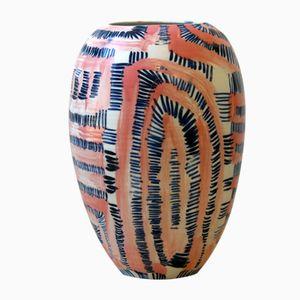 Pink and Blue Porcelain Fever Vase by Gur Inbar