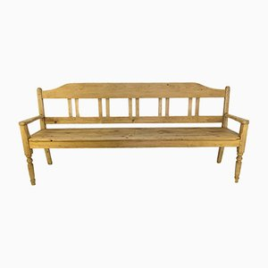 Vintage Rustic Baltic Pine Bench, 1920s