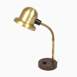 Lámpara de escritorio sueca vintage de acero dorado de Elidus, años 70