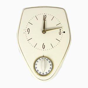 Reloj de cocina eléctrico vintage de cerámica blanca, años 70