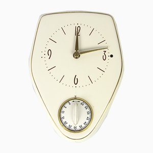 Vintage White Ceramic Electric Kitchen Clock, 1970s