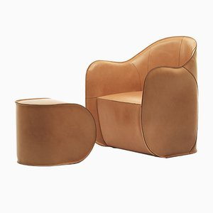 Club chair EXO con pouf di Alberto Colzani per Epònimo