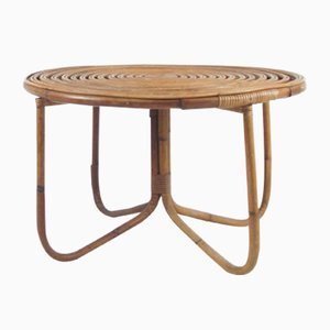 Round Italian Rattan Coffee Table, 1960s