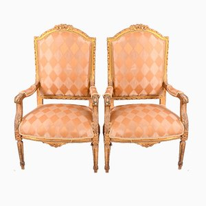Antique Gustavian Gilded Armchairs, Set of 2