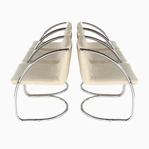 Chrome-Plated Cantilever Dining Chairs from Brayton International, 1970s, Set of 6