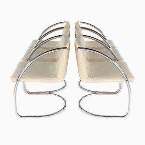 Sillas de comedor Cantilever cromadas de Brayton International, años 70. Juego de 6