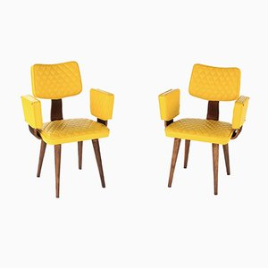 Mid-Century Yellow Upholstery & Bentwood Armchairs from Thonet, 1960s, Set of 2