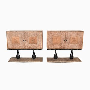 Art Deco Italian Oak Sideboard and Dry Bar, 1940s, Set of 2