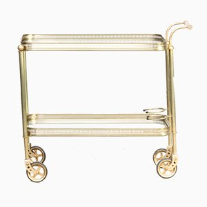 Mid-Century Brass and Glass Serving Trolley, 1960s