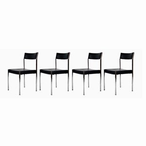 9052 Chairs with Different Backrest Heights by Ernst Lauclair for Girsberger, 1960s, Set of 4