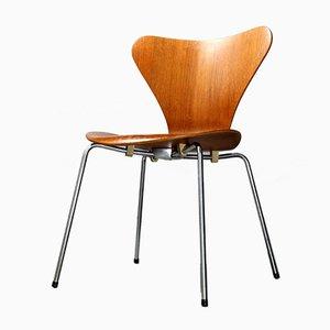 Silla 3107 de teca de Arne Jacobsen para Fritz Hansen, años 60