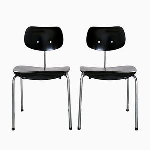 SE 68 SU Black Stacking Chairs by Egon Eiermann for Wilde+Spieth, 1980s, Set of 2