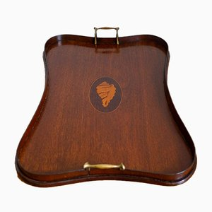 English Mahogany Tray with Conch Inlay, 1870s