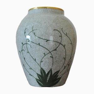 Jarrón vintage de porcelana esmaltada craquelada de Lyngby Porcelain