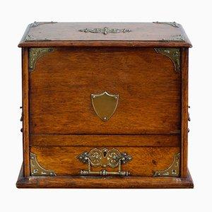 Englische Briefschatulle mit Ornamenten aus Messing, 1900er