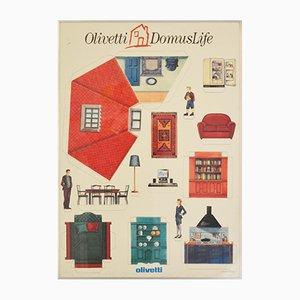 Affiche par Ettore Sottsass pour Olivetti DomusLife, 1990s