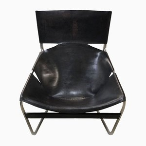 Vintage F444 Black Leather Armchair by Pierre Paulin