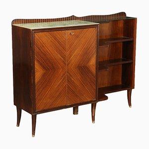 Vintage Italian Rosewood Veneer & Glass Cabinet, 1960s