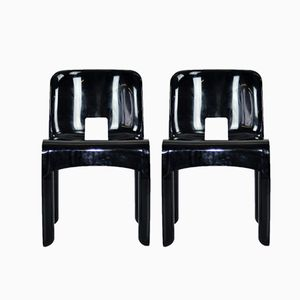 Black Chairs by Joe Colombo for Kartell, 1970s, Set of 2