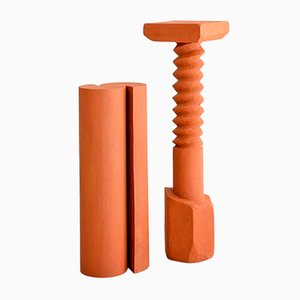 Hand-Sculpted Terracotta Pedestals by Rooms, Set of 2