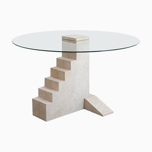 Round Hand-Sculpted French Limestone Staircase Table by Rooms