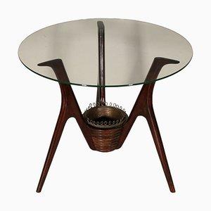 Tavolino da caffè vintage in vetro e impiallacciatura in mogano, Italia, anni '50