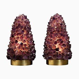 Tischlampen aus natürlichem Amethyst von Demian Quincke, 2019, 2er Set