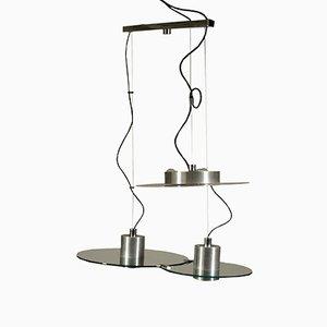 Lámpara de techo italiana vintage de metal y vidrio de Pia Guidetti Crippa para Lumi, años 80