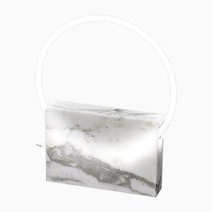 Lampada da tavolo ovale in marmo bianco di Sabine Marcelis, 2019