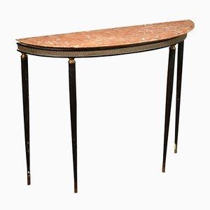 Mesa consola italiana vintage de mármol, madera y ébano teñido, años 60