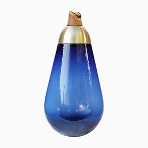 Vase de Sol Monumental Scarabee en Verre Bleu et en Laiton par Pia Wüstenberg, 2019