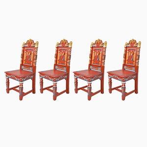 Sedie antiche in stile elisabettiano, set di 4