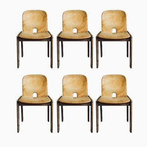 121 Walnut & Cognac Leather Dining Chairs by Afra & Tobia Scarpa for Cassina, 1965, Set of 6