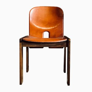 121 Walnut & Red Leather Dining Chairs by Afra & Tobia Scarpa for Cassina, 1965, Set of 4