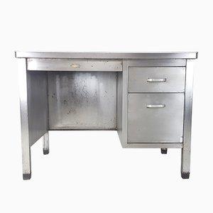 Industrieller Vintage Schreibtisch aus poliertem Stahl von Art Metal, 1920er