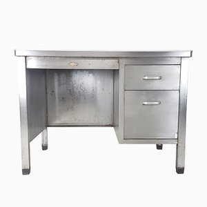 Vintage Industrial Polished Steel Desk from Art Metal, 1920s