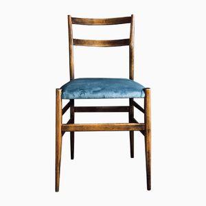 646 Leggera Ash & Avio Velvet Dining Chairs by Gio Ponti for Cassina, 1956, Set of 6
