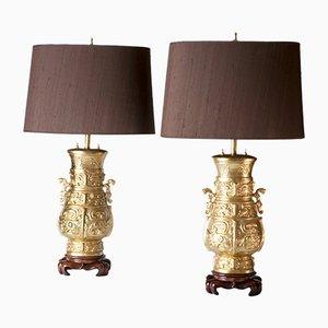 Lámparas de mesa vintage de madera y bronce dorado. Juego de 2